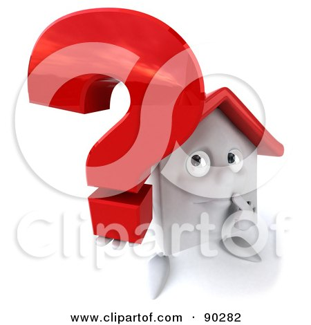 Royalty-Free (RF) Clipart Illustration of a 3d White Clay Home Character With A Question Mark - Version 1 by Julos