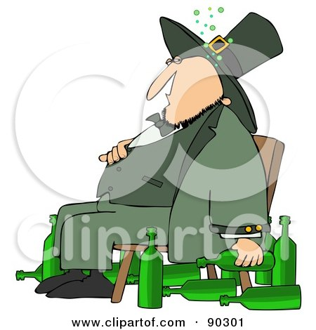 Royalty-Free (RF) Clipart Illustration of a Chubby Drunk Leprechaun Sitting In A Chair With Alcohol Bottles On The Floor by djart