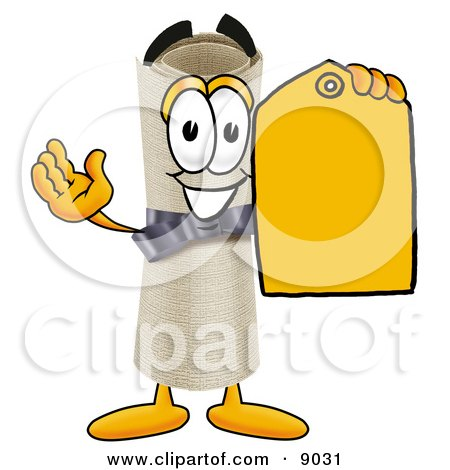 Diploma Mascot Cartoon Character Holding a Yellow Sales Price Tag Posters, Art Prints