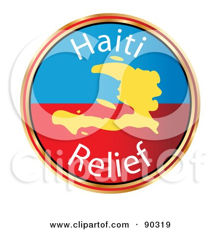 Royalty-Free (RF) Clipart Illustration of a Haiti Relief Circle With A Map by MacX