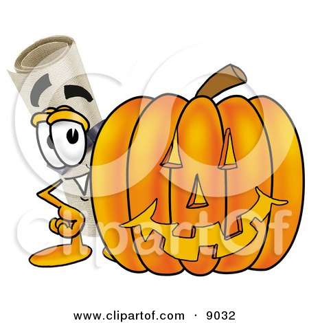 Diploma Mascot Cartoon Character With a Carved Halloween Pumpkin Posters, Art Prints