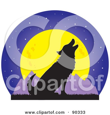 Silhouetted Howling Wolf In Front Of A Full Moon And Mountains Posters, Art Prints