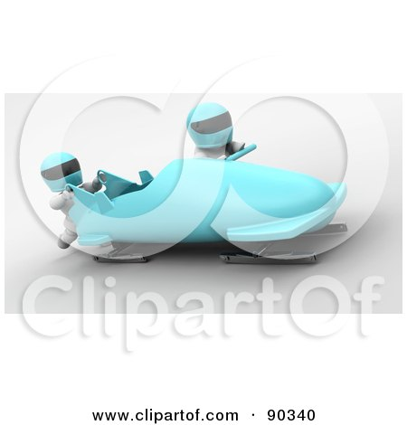 Royalty-Free (RF) Clipart Illustration of 3d White Characters Bobsledding - Version 2 by KJ Pargeter