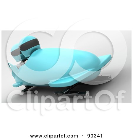 Royalty-Free (RF) Clipart Illustration of 3d White Characters Bobsledding - Version 1  by KJ Pargeter