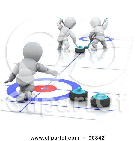 Royalty-Free (RF) Clipart Illustration of 3d White Characters In A Curling Match by KJ Pargeter