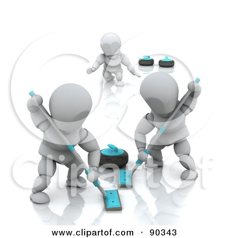 Royalty-Free (RF) Clipart Illustration of 3d White Characters Curling by KJ Pargeter