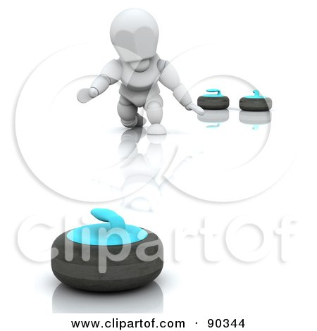 Royalty-Free (RF) Clipart Illustration of a 3d White Character Curling by KJ Pargeter