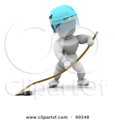 Royalty-Free (RF) Clipart Illustration of a 3d White Character Playing Ice Hockey by KJ Pargeter