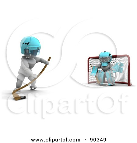 Royalty-Free (RF) Clipart Illustration of a 3d White Character Ice Hockey Goalie Blocking A Net by KJ Pargeter