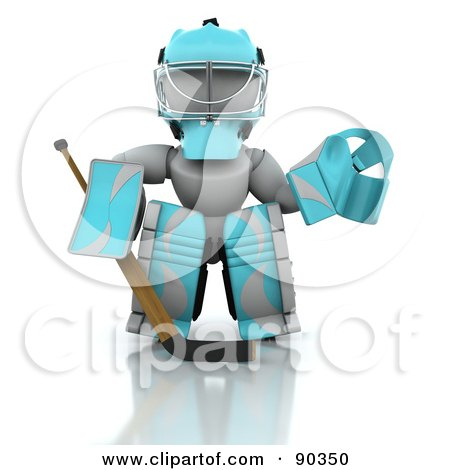 Royalty-Free (RF) Clipart Illustration of a 3d White Character Ice Hockey Goalie by KJ Pargeter