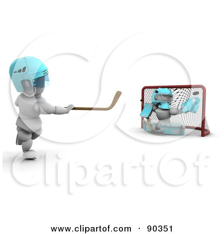 Royalty-Free (RF) Clipart Illustration of 3d White Characters Playing Ice Hockey by KJ Pargeter