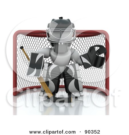 Royalty-Free (RF) Clipart Illustration of a 3d White Character Ice Hockey Goalie Guarding A Net by KJ Pargeter