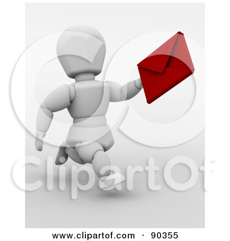 Royalty-Free (RF) Clipart Illustration of a 3d White Character Running With A Valentine's Day Card by KJ Pargeter