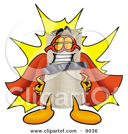 Clipart Picture of a Diploma Mascot Cartoon Character Dressed as a Super Hero by Toons4Biz