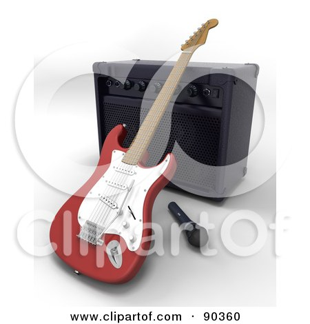 Royalty-Free (RF) Clipart Illustration of a 3d Electric Guitar With A Microphone And Speaker by KJ Pargeter
