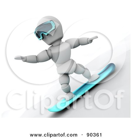 Royalty-Free (RF) Clipart Illustration of a 3d White Character Snowboarding - Version 1 by KJ Pargeter