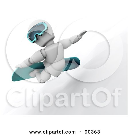 Royalty-Free (RF) Clipart Illustration of a 3d White Character Snowboarding - Version 2 by KJ Pargeter