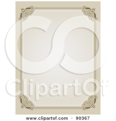 Royalty-Free (RF) Clipart Illustration of an Ornate Border Of Beige With Flourished Corners Around White Space by KJ Pargeter