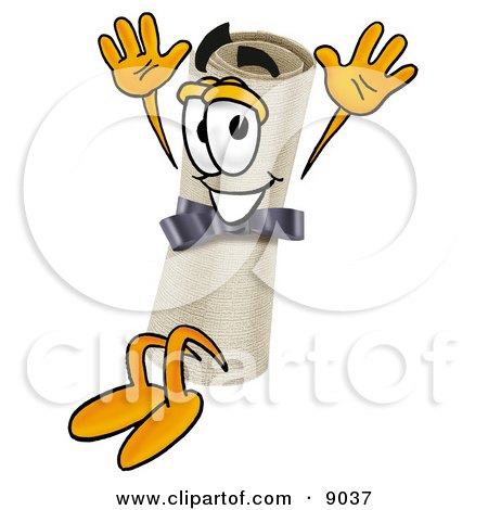 Diploma Mascot Cartoon Character Jumping Posters, Art Prints