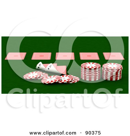 Royalty-Free (RF) Clipart Illustration of a 3d Casino Scene Of Playing Cards And Poker Chips On Green by KJ Pargeter