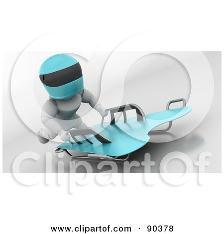 Royalty-Free (RF) Clipart Illustration of a 3d White Character On A Skeleton Bobsleigh - Version 1 by KJ Pargeter