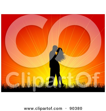 Royalty-Free (RF) Clipart Illustration of a Kissing Couple Silhouetted Against A Bright Sunset by KJ Pargeter