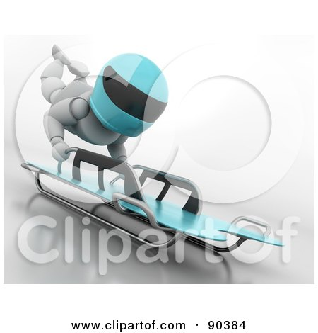 Royalty-Free (RF) Clipart Illustration of a 3d White Character On A Skeleton Bobsleigh - Version 2 by KJ Pargeter