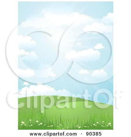 Royalty-Free (RF) Clipart Illustration of a Sunny Day Time Landscape Of Hills, Grass And Flowers Under A Blue Sky by KJ Pargeter