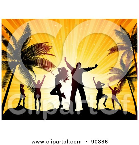 Royalty-Free (RF) Clipart Illustration of Silhouetted Dancers Against An Orange Sunset On A Beach by KJ Pargeter