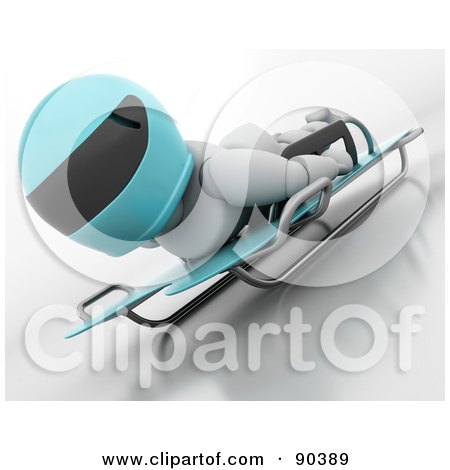 Royalty-Free (RF) Clipart Illustration of a 3d White Character On A Skeleton Bobsleigh - Version 3 by KJ Pargeter