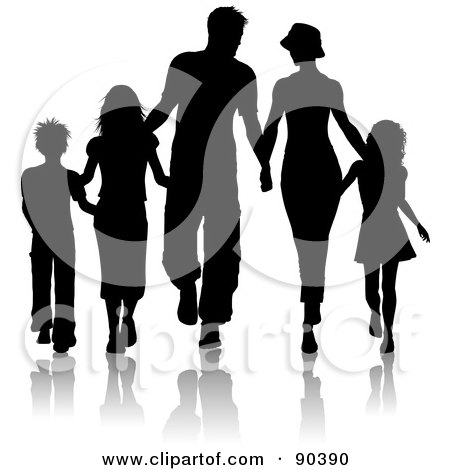 Royalty-Free (RF) Clipart Illustration of a Black Silhouetted Family Of Five Walking And Holding Hands by KJ Pargeter