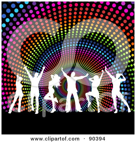 Royalty-Free (RF) Clipart Illustration of White Silhouetted Dancers Over A Rainbow Halftone Spiral Background by KJ Pargeter