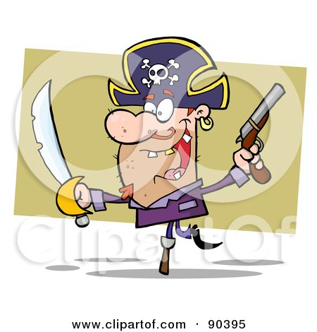 Royalty-Free (RF) Clipart Illustration of a Peg Leg Pirate Balancing And Holding Up A Sword And Pistol by Hit Toon