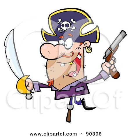Royalty-Free (RF) Clipart Illustration of a Pirate Holding Up A Sword And Pistol And Balancing On His Peg Leg by Hit Toon