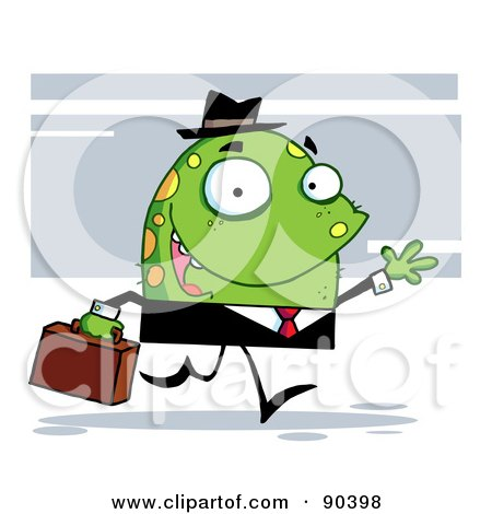 Royalty-Free (RF) Clipart Illustration of a Friendly Toon Monster Businessman In A Black Suit by Hit Toon