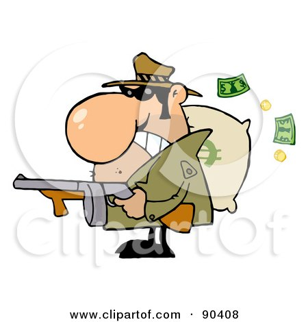 Royalty-Free (RF) Clipart Illustration of a Tough Mobster Holding A Machine Gun And Money Sack by Hit Toon
