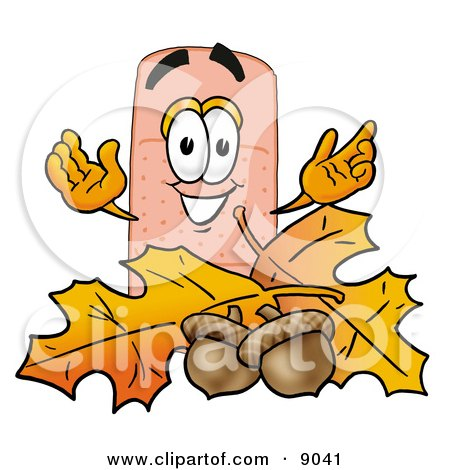Clipart Picture of a Bandaid Bandage Mascot Cartoon Character With Autumn Leaves and Acorns in the Fall by Toons4Biz