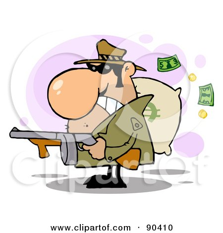 Royalty-Free (RF) Clipart Illustration of a Tough Gangster Holding A Machine Gun And Money Sack by Hit Toon
