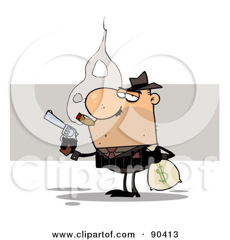 Royalty-Free (RF) Clipart Illustration of a Gangster Smoking A Cigar And Robbing A Bank by Hit Toon