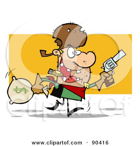 Royalty-Free (RF) Clipart Illustration of a Western Cowboy Running With A Pistol And Sack Of Money by Hit Toon