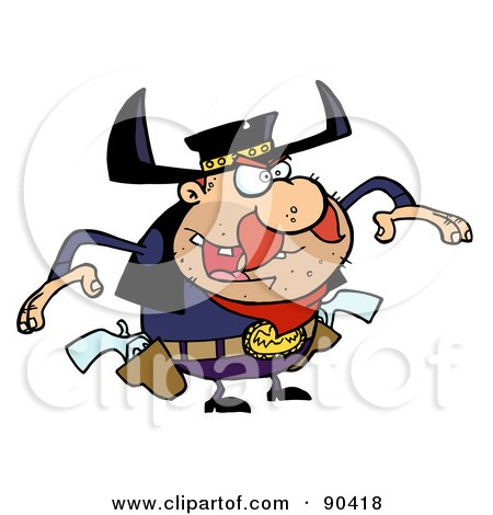 Royalty-Free (RF) Clipart Illustration of an Outlaw Cowboy Ready To Draw His Pistols by Hit Toon