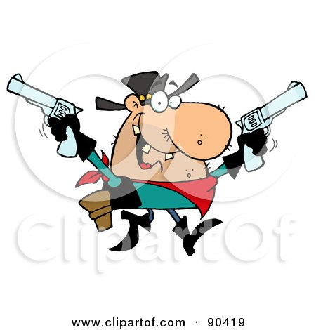 Royalty-Free (RF) Clipart Illustration of an Outlaw Cowboy Holding Up Two Pistols by Hit Toon