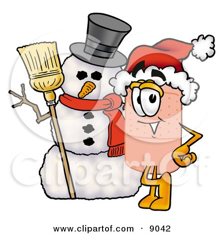Clipart Picture of a Bandaid Bandage Mascot Cartoon Character With a Snowman on Christmas by Toons4Biz