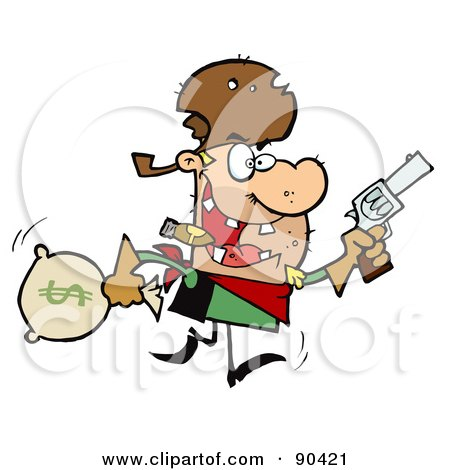 Royalty-Free (RF) Clipart Illustration of an Outlaw Cowboy Running With A Pistol And Sack Of Money by Hit Toon