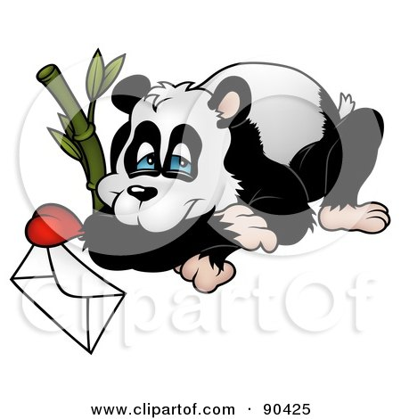 Royalty-Free (RF) Clipart Illustration of a Panda Resting By Bamboo With A Love Letter by dero