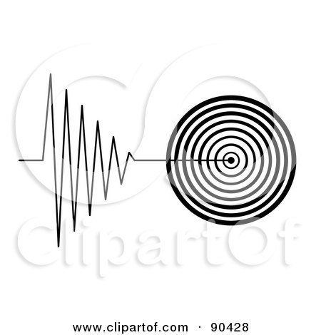Royalty-Free (RF) Clipart Illustration of a Black And White Tremor Signal On White by oboy