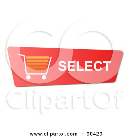 Royalty-Free (RF) Clipart Illustration of a Red Select And Add To Shopping Cart Website Button by oboy