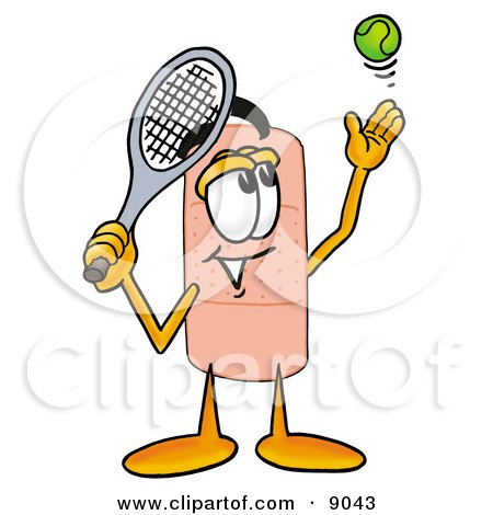 Clipart Picture of a Bandaid Bandage Mascot Cartoon Character Preparing to Hit a Tennis Ball by Toons4Biz