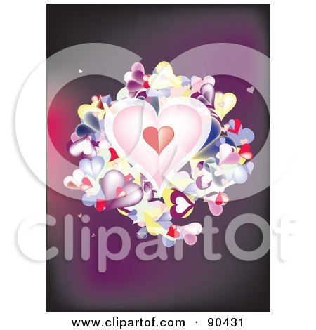 Royalty-Free (RF) Clipart Illustration of a Purple Background With Folded Paper Hearts by JR