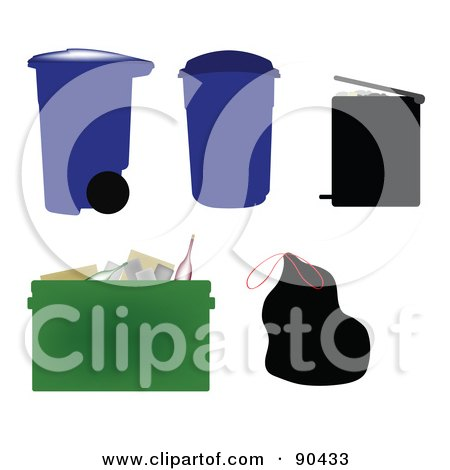 Royalty-Free (RF) Clipart Illustration of a Digital Collage Of Garbage Cans, Bins, Bags And A Recycle Bin by JR